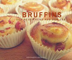 In den USA boomen zur Zeit sogenannte Zwittersnacks. Bruffins sind ein Brioche gekreuzt mit einem Muffin in dem sich eine Füllung befindet. Muffin Recipes, Bread Recipes, Baking Recipes, Cookie Recipes, Muffins, Neue Trends, Favorite Recipes, Breakfast, Tin