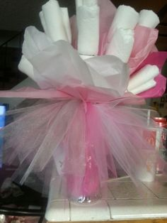 Diaper bouquet for a tutu themed baby shower