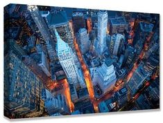 Aerial View of Wall Street Custom Stretched Canvas Print by Cameron Davidson at Art.com