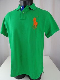 Ralph Lauren Men Blue Soft Green Big Pony 1 Polo