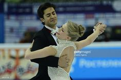 Kaitlyn Weaver and Andrew Poje of Canada skate in the Ice Dance Short Dance during Rostelecom Cup ISU Grand Prix of Figure Skating 2015, at the Small Sports Arena of Olympic Complex Luzhniki, in Moscow, Russia, on November, 20,2015.
