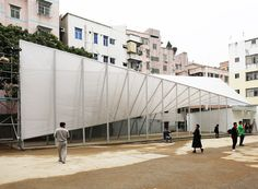 NADAAA  cooper union students build linear pavilion in one of shenzhens urban villages