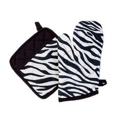 Sin In Linen Zebra Oven Mitt in Black