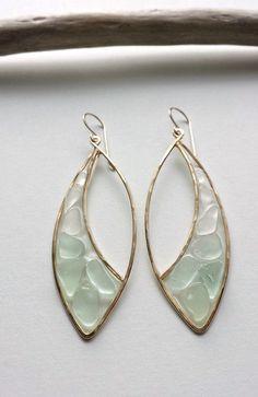 Sea Glass Hoop Earrings Aqua Sea Glass by BellaAnelaJewelry