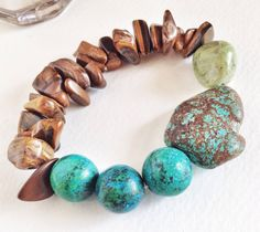 Tigereye turquoise and olive jade stretch bracelet by RetroFuse, $38.00