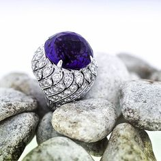 """When Big is not Big enough.. 41.00ct. Amethyst Over 10.00ct. Of the finest Diamonds in 18kt. White Gold. #gregorysjoaillier #kurfürstendamm #BERLIN…"""