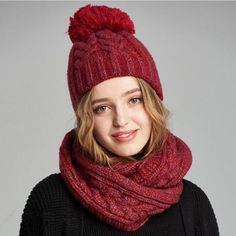 Red cable knit hat scarf combo for winter womens bobble hat and scarf set 1d322c38da1