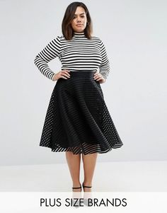 New Look Plus | New Look Plus Mesh Stripe Prom Midi Skirt