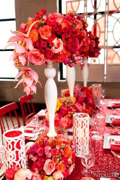 Awesome Fushcia Design wedding table decor. Reception centerpieces