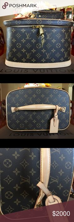 💯% AUTH Louis Vuitton Monogram Nice Train Case This beautiful train case is in excellent condition. Except some small water stain marks on the interior  esp on the vachetta leather. Exterior is in pristine condition, zipper pulls works good. Made in France. Date code: AA 0173. Comes with dustbag,adjustable strap with box, organizer, luggage tag, lock and keys. Any questions pls contact me. Thanks Louis Vuitton Bags Cosmetic Bags & Cases