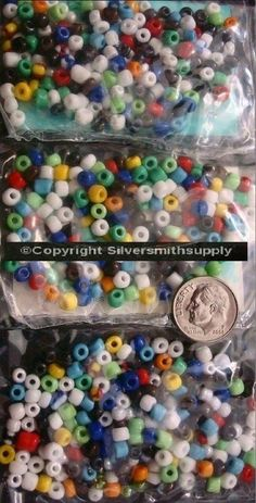 Glass seed beads multi color opaque size E  50grams hundreds of bead lots gbs058 #Silversmithsupply #Seedbeads