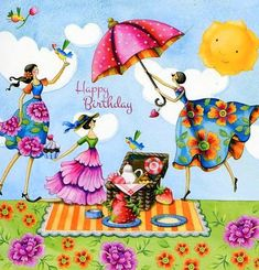 Illustrations by Nina Chen Happy Birthday Messages, Happy Birthday Images, Happy Birthday Greetings, Birthday Quotes, Photo Deco, Whimsical Art, Cute Illustration, Cute Art, Decoupage