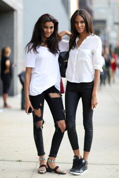 How to get the Model-Off-Duty Look - a voluminous blowout + the basics in black, white, and denim