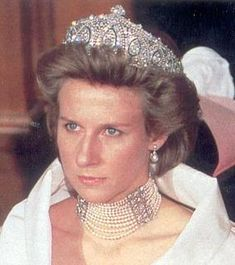 Duchess of Gloucester wearing the Princess Marie Louise Indian Tiara and Queen Mary's multi strand pearls choker