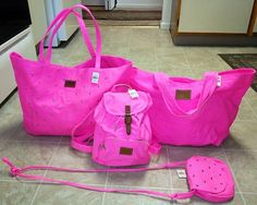 Victoria Secret Pink Studded Bling Backpack Duffle Bag Tote Purse Luggage 4P Set | eBay