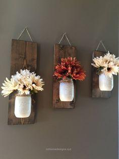 Incredible Fall Wall Sconce, Individual Mason Jar Sconce, Flower Vase Mason Jar, Rustic Decor, Painted Mason Jar, Floral wall sconce. PRODUCT DESCRIPTION: Set of 3 Mason Jar/flower wall sconce. Th ..