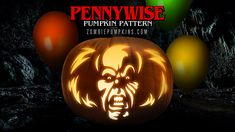 Stephen King's IT: Pennywise the Clown - Printable Pumpkin Pattern