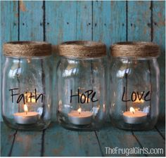 Jar Candles- This would be neat to do with baby food jars, too, as place holders with guest's names on them.