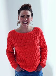Mon pull relief orange au tricot - Knitting And Crocheting Knitting Stitches, Free Knitting, Knitting Patterns, Crochet Designs, Crochet Clothes, Knitwear, Knit Crochet, Sweaters For Women, Voici