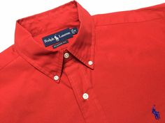 RALPH LAUREN Men's M Classic Fit Red Long Sleeve Button-Down Shirt ~ Blue Pony | Shop at www.designerclothingfans.com. A SelectStore whit brand name designer clothing new & pre-owned in excellent condition, for the fashionable man on a budget.