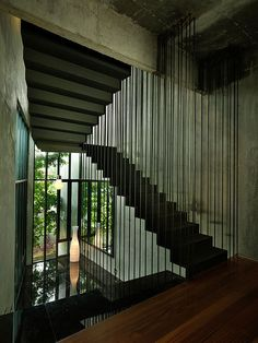 Stairs, House in Selangor, Malaysia by ArchiCentre Interior Stairs, Interior Architecture, Staircase Architecture, Room Interior, Loft Industrial, Boffi, Exposed Brick Walls, House Stairs, Staircase Design