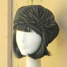 Beret Hat Vintage Black&White Pin Striped Wool by Bellastarrhats
