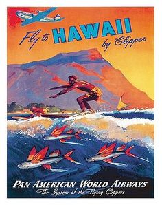 Hawaiian Surfer and Flying Fish Vintage World Travel Poster by Mark Von Arenburg by Retro Graphics