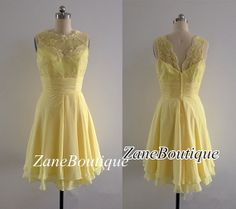 Short Lace Bridesmaid Dress, Chiffon Bridesmaid Dress, Straps Scoop Bridesmaid Dress, Yellow Daffodil Buttercup Lace Chiffon Reception Dress on Etsy, $95.00