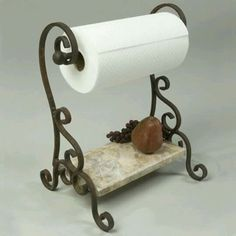 Pictured here is the Bentley Paper Towel Holder with hand-forged wrought iron frame and lower marble shelf. Blacksmith Projects, Welding Projects, Marble Shelf, Wrought Iron Decor, Iron Furniture, Paper Towel Holder, Towel Holders, Tuscan Decorating, Iron Work