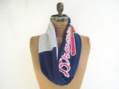 Atlanta Braves T Shirt Infinity Scarf / Eternity Scarf / Red White Gray / MLB Baseball / Recycled / Upcycled / Cotton / Soft / tagt / ohzie