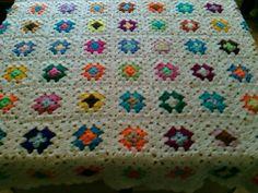CROCHET BLANKET  Handmade with multi colour white border Cuddle Blanket (nannycheryl original) 771 by nannycheryl on Etsy https://www.etsy.com/listing/85622803/crochet-blanket-handmade-with-multi