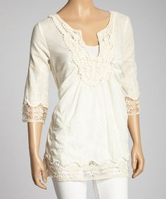Take a look at this Ivory Lace Trim V-Neck Top by Simply Irresistible on #zulily today! $21.99
