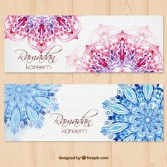 Ramadan Kareem Watercolor Banners With Mandala Name Card Design Banner Logos
