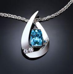 blue topaz necklace - argentium silver pendant - december birthstone - wedding - white sapphire - contemporary jewelry - 3378