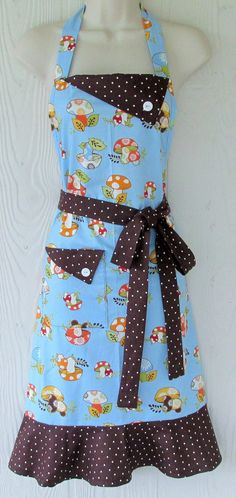 M. Helbling - Cute Mushroom Apron Blue Apron Polka Dot Retro by KitschNStyle.