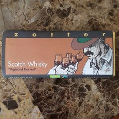 This #Scotchwhisky #highlandharvest #chocolatebar by #Zotter @zotterchocolates has a very thin, crisp layer of  #noblebitterchocolate #darkchocolate over a whipped mousse like textured filling that has 10% real #whisky in it. The flavor notes are fruity, whisky, a touch buttery, and a bit of black coffee.  After eating this you'll want to be by a fireplace having a whisky! Zotter bars are made in #Austria. #beantobar #organic #chocoholic What do you think of bars with alcohol in them?