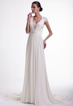 K25107-1Z_KNIGHTLY Wedding Dresses: Deep V neck cap sleeve lace beads chiffon sheath see through back wedding dress with sweep train.