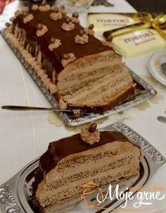 "Torta ""Srneća leđa"" Torte Recepti, Kolaci I Torte, Baking Recipes, Cookie Recipes, Dessert Recipes, Old Fashioned Nut Roll Recipe, Croation Recipes, Torta Recipe, Torte Cake"