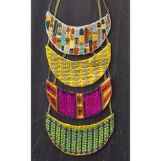 So would like to try make these Tribal embroidered necklace bibs - fiber, fabric, textile jewelry Textile Jewelry, Fabric Jewelry, Tribal Jewelry, Jewelry Art, Jewelry Accessories, Fashion Accessories, Jewelry Design, Tribal Necklace, Geek Jewelry