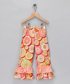 Take a look at this Orange & Green Ruffle Pants - Infant, Toddler & Girls by Chatti Patti on #zulily today!