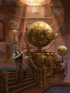 Globes in a library, steampunk / fantasy setting inspiration Arte Steampunk, Steampunk Artwork, Victorian Steampunk, Victorian Era, Steampunk Watch, Steampunk City, Steampunk Halloween, Fantasy World, Dark Fantasy