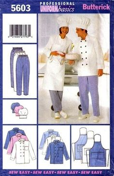 Butterick Sewing Pattern 5603 Unisex Chef Jacket by chails01