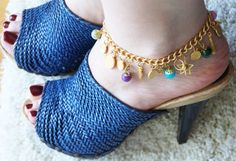 GYPSY ANKLET BRACELET / gold plated chain purple green by sestras