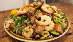 Cambodian Rice Noodle Salad with Pork & Prawns - Good Chef Bad Chef
