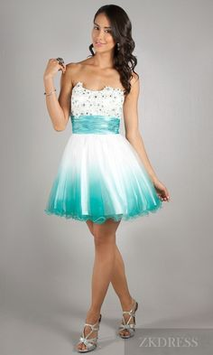 White and teal strapless dress.