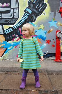 Knitting pattern: Nova - a simple, striped dress for girls - colorful knitting design by Signe Strømgaard