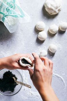 Wonderfully delicious Black Sesame Sticky Rice Balls made super fragrant with tangerine peels and rose petals Whole 30 Recipes, New Recipes, Sweet Recipes, Black Sesame Ice Cream, Rice Balls, Food N, Creative Food, Sweet Tooth, Stuffed Mushrooms