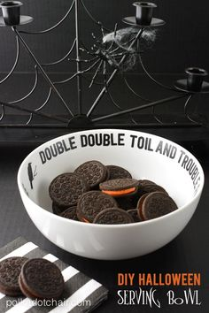"Decorate a simple dish with vinyl lettering ""Double, Double Toil and Trouble"" -- makes a cute DIY Halloween candy dish"