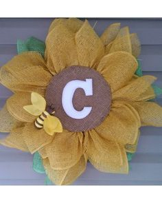 Monogrammed BeeUtiful Sunflower Decoration by Ginger   CraftOutlet.com Photo Contest -