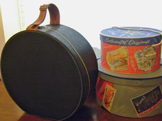 vintage round leather train case hat box